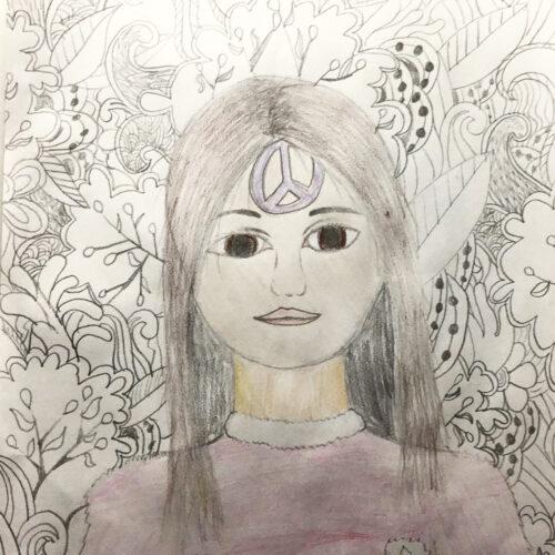 Pige med fredstegn
